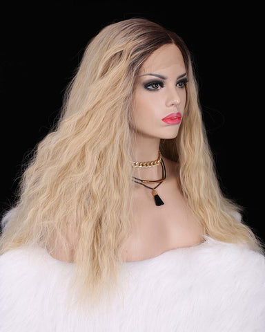 Dark Rooted Natural Blonde Curly Straight Synthetic Lace Front Wigs - Imstylewigs