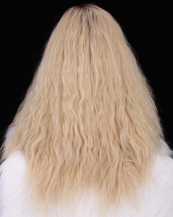 Dark Rooted Natural Blonde Curly Straight Glueless Synthetic Lace Front Wigs - Imstylewigs