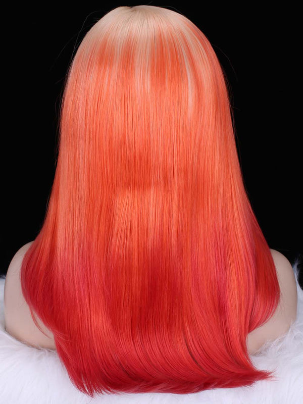 Silky Straight Blonde Roots with Red Ombre Color Glueless Synthetic Lace Front Wigs - Imstylewigs