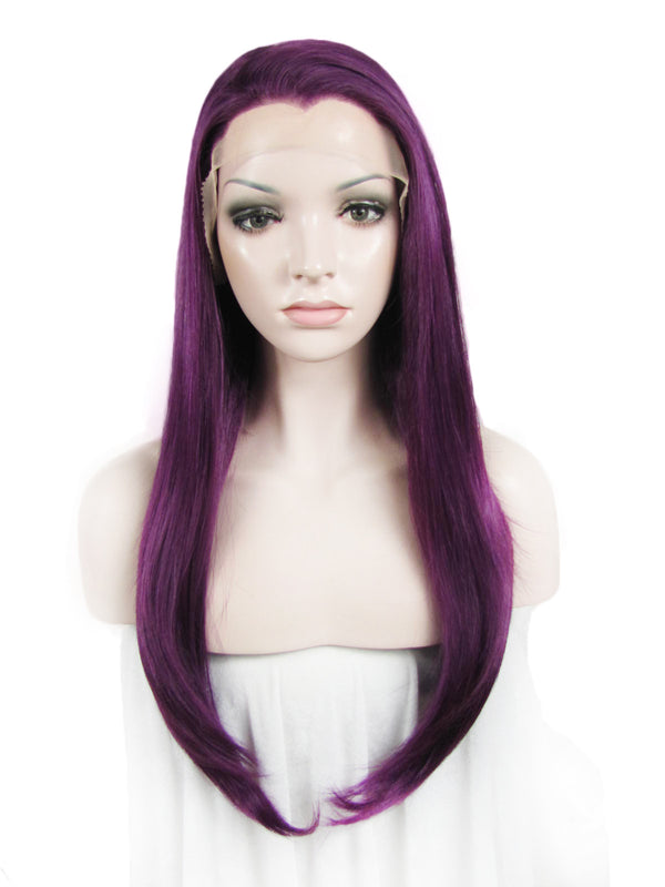 Long Straight Glueless Purple Synthetic Lace Front Wigs - Imstylewigs