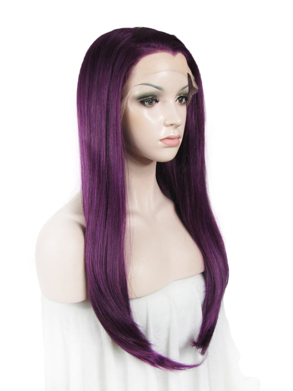 Long Straight Glueless Purple Lace Front Wigs - Imstylewigs