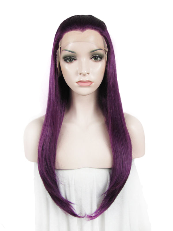 Straight Purple Glueless Synthetic Lace Front Wigs - Imstylewigs