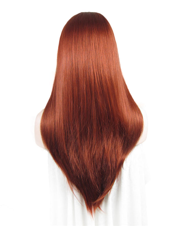 Long Reddish Red Straight Glueless Synthetic Lace Front Wigs - Imstylewigs