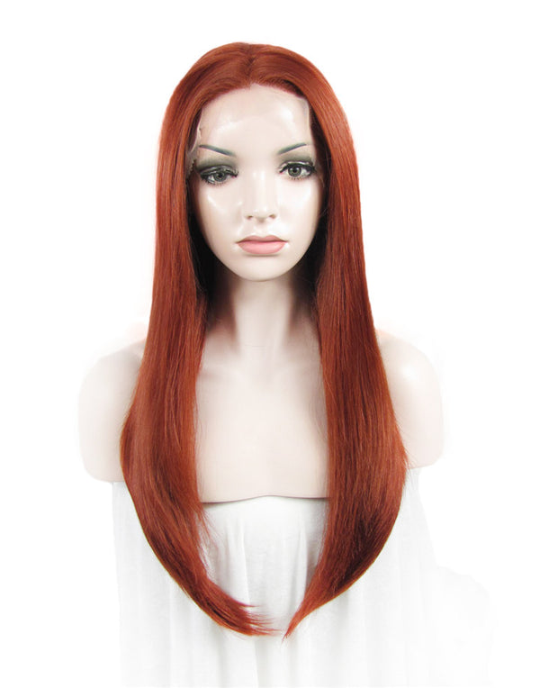 Reddish Red Straight Glueless Synthetic Lace Front Wigs - Imstylewigs