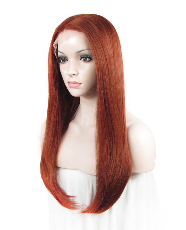 Reddish Red Straight Synthetic Lace Front Wigs - Imstylewigs