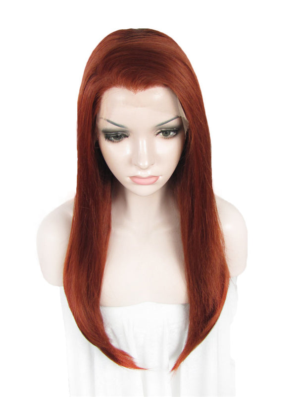 Long Reddish Red Straight Synthetic Lace Front Wigs - Imstylewigs