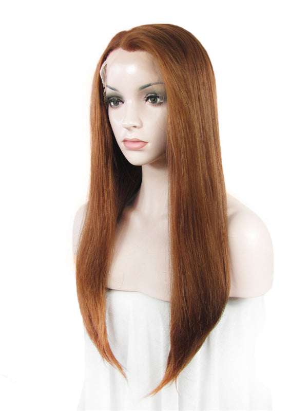 Light Auburn Long Straight Glueless Lace Front Wigs - Imstylewigs
