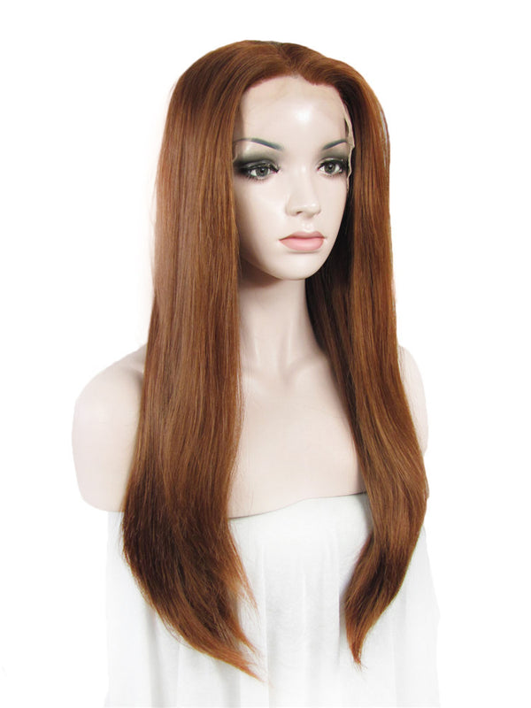 Long Light Auburn Synthetic Glueless Lace Front Wigs - Imstylewigs