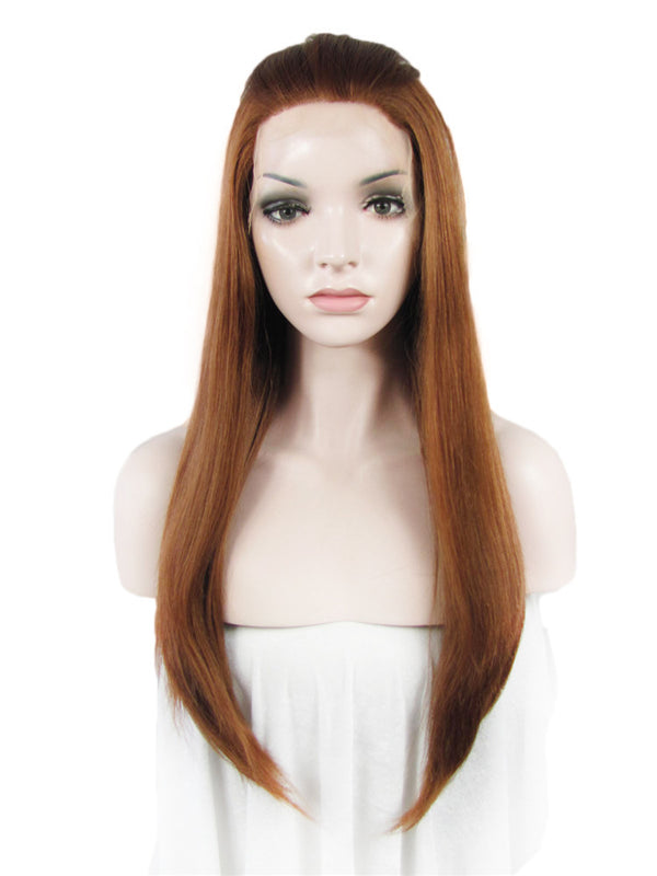 Long Light Auburn Straight Glueless Lace Front Wigs - Imstylewigs