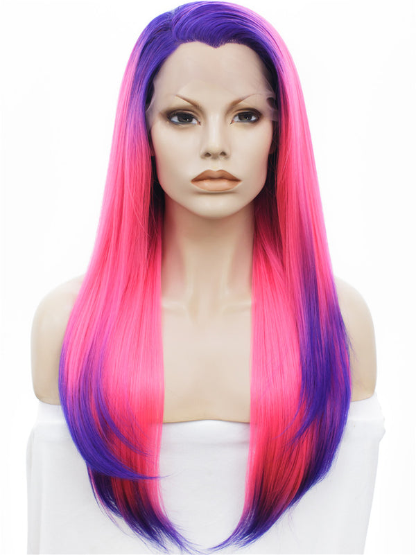 Long Rock Purple Pink Ombre Straight Synthetic Lace Front Wigs - Imstylewigs
