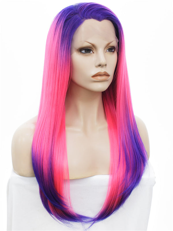Long Rock Purple Pink Ombre Straight Glueless Lace Front Wigs - Imstylewigs