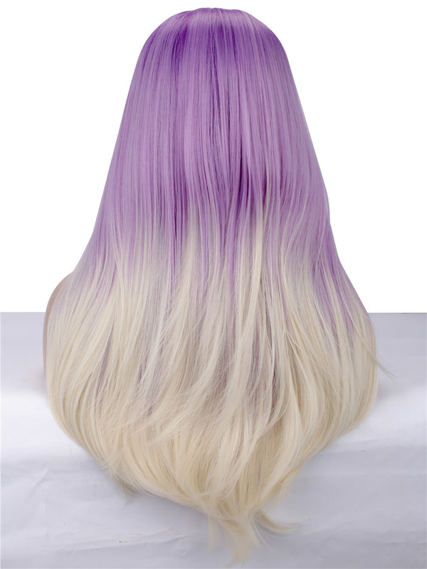 Long Straight Dark Rooted Purple Synthetic Glueless Lace Front Wigs - Imstylewigs
