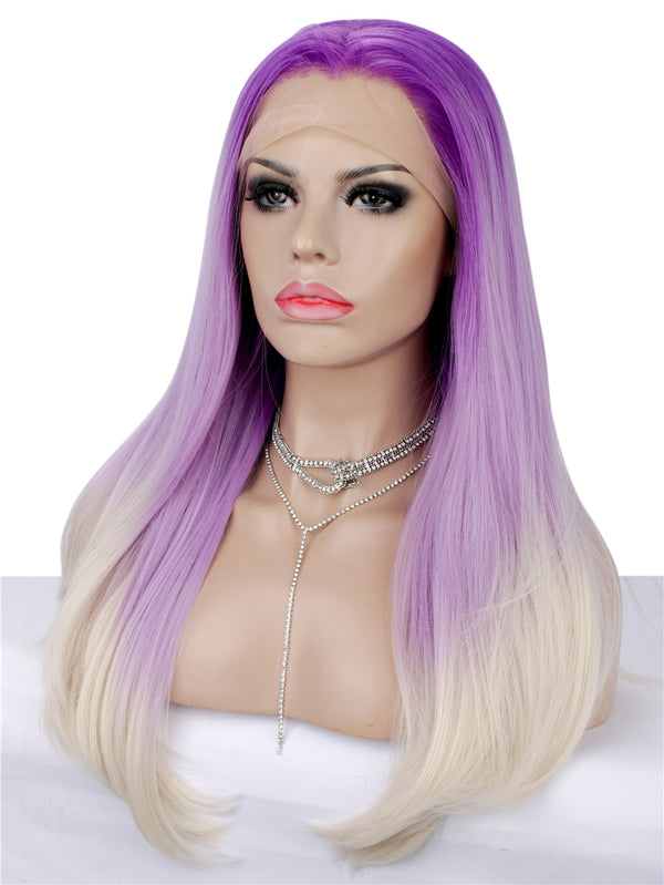 Long Straight Dark Rooted Purple Synthetic Lace Front Wigs - Imstylewigs