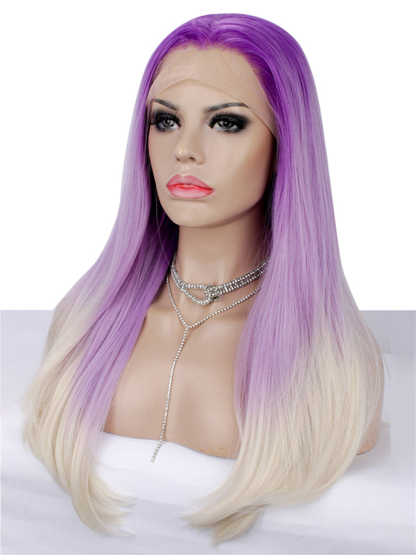 Long Straight Dark Rooted Purple Glueless Lace Front Wigs - Imstylewigs