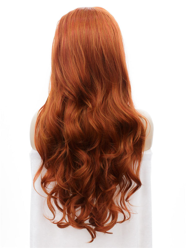 Orange and Red Mixed Layered Wavy Glueless Synthetic Lace Front Wigs - Imstylewigs