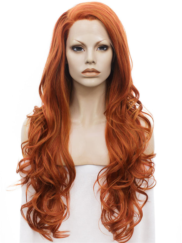 Orange and Red Mixed Layered Wavy Lace Front Wigs - Imstylewigs