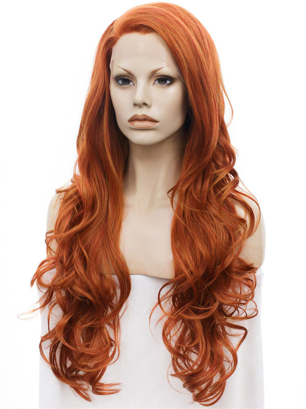Orange and Red Mixed Layered Wavy Synthetic Lace Front Wigs - Imstylewigs