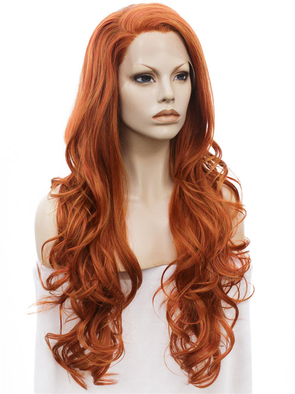 Orange and Red Mixed Layered Wavy Glueless Lace Front Wigs - Imstylewigs