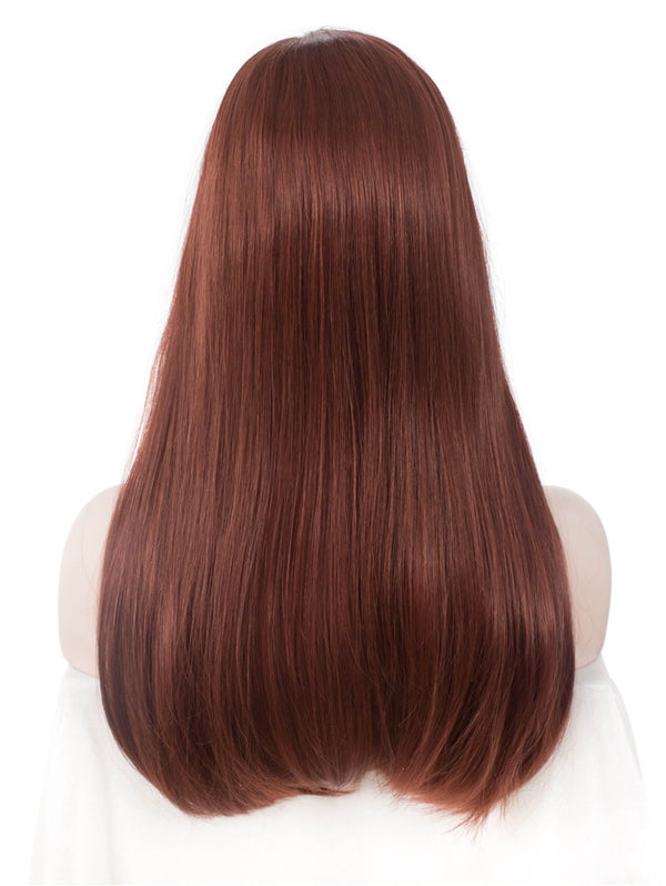 Ginger Red Long Straight Synthetic Hair With Bangs Normal Wigs - Imstylewigs