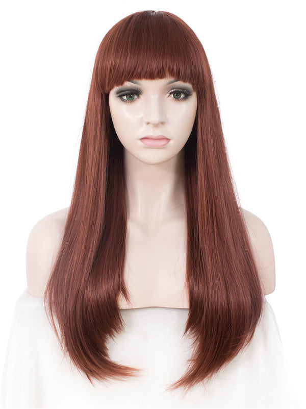 Long Straight Ginger Red Synthetic Hair With Bangs Normal Wigs - Imstylewigs