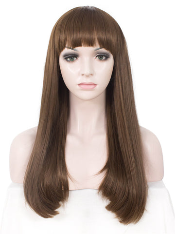 Long Straight Brown Synthetic Hair With Bangs Normal Wigs - Imstylewigs