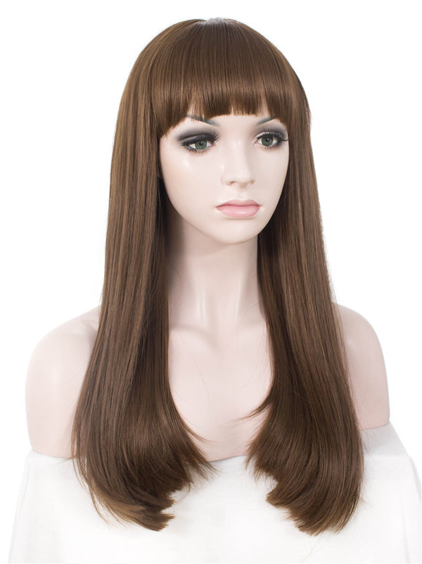 Brown Long Straight Synthetic Hair With Bangs Normal Wigs - Imstylewigs