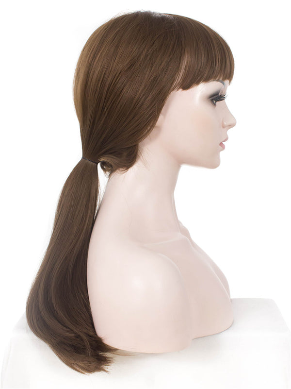 Long Straight Brown Synthetic Non-Lace Wigs - Imstylewigs