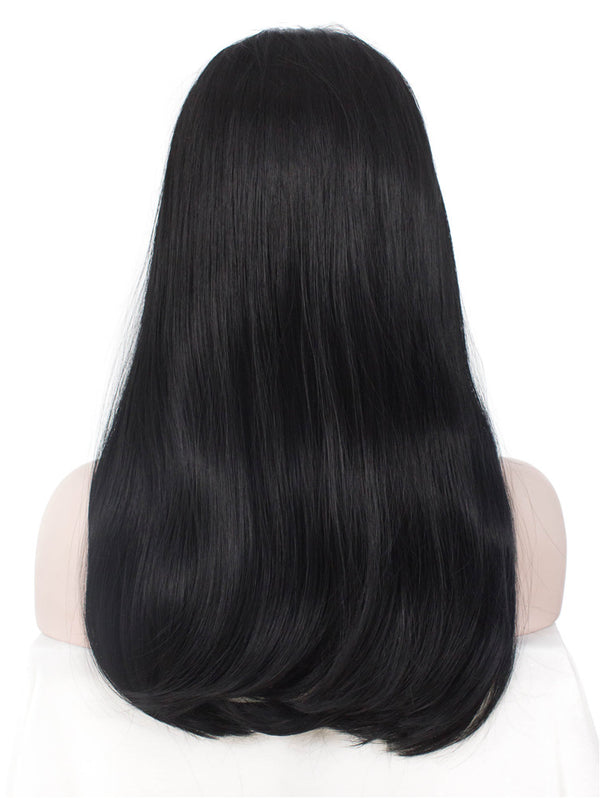 Natural Black Long Straight Synthetic Hair With Bangs Normal Wigs - Imstylewigs