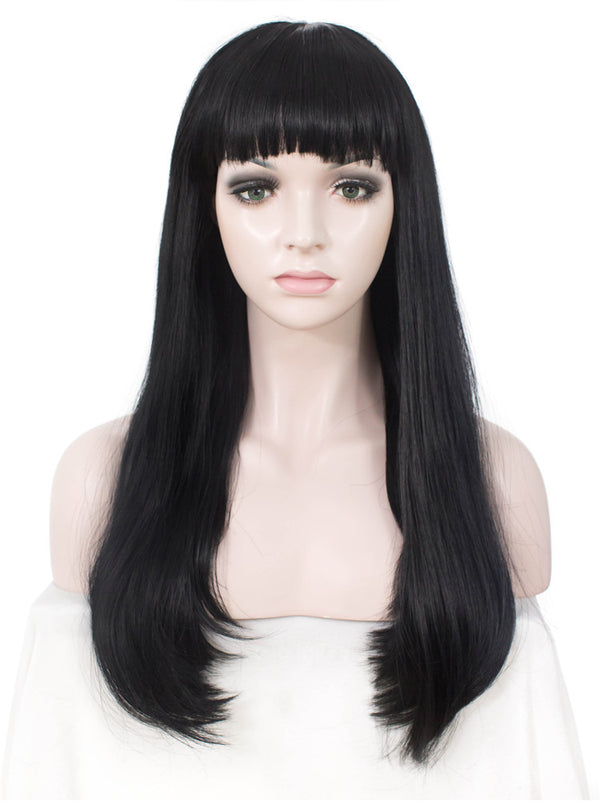 Long Straight Natural Black Synthetic Hair With Bangs Normal Wigs - Imstylewigs