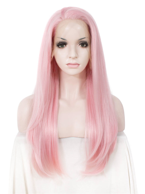 Straight Natural Pink Glueless Synthetic Lace Front Wigs - Imstylewigs