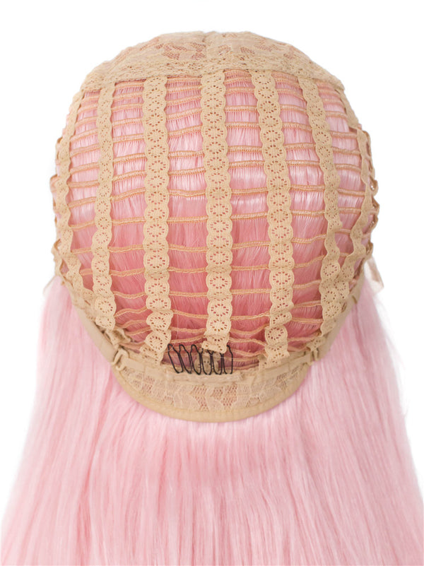 Straight Natural Pink Glueless Lace Front Wigs - Imstylewigs