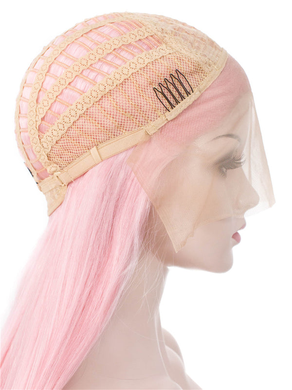 Straight Pink Synthetic Glueless Lace Front Wigs - Imstylewigs