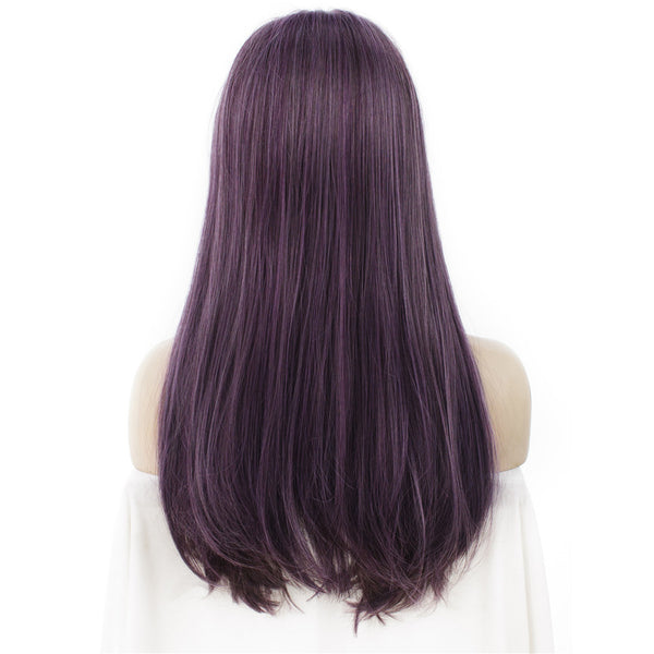 Mystery Purple Long Straight Synthetic Hair With Bangs Normal Wigs - Imstylewigs