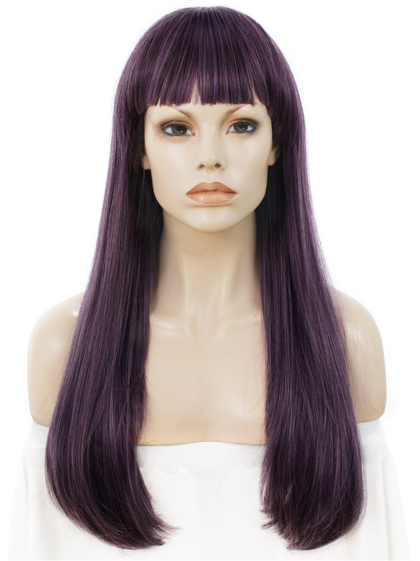 Long Straight Mystery Purple Synthetic Hair With Bangs Normal Wigs - Imstylewigs