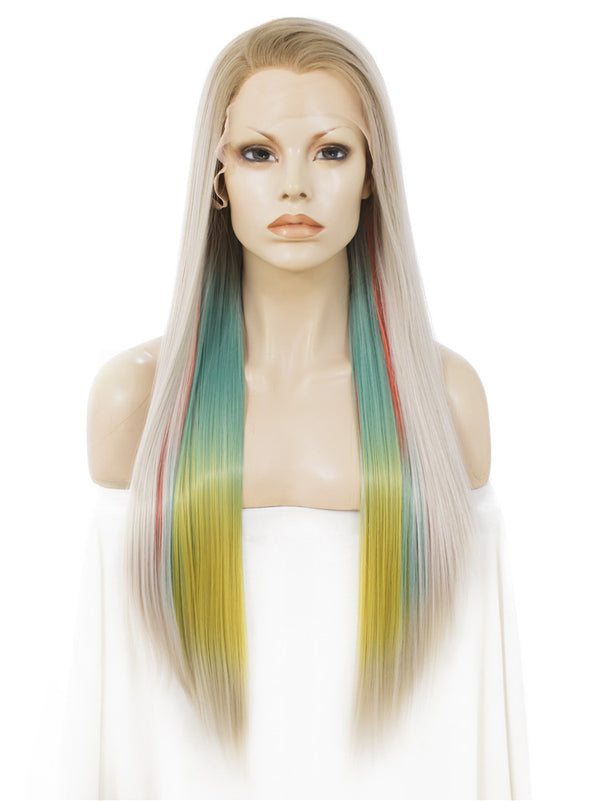 Rainbow Color Straight Glueless Synthetic Lace Front Wigs - Imstylewigs