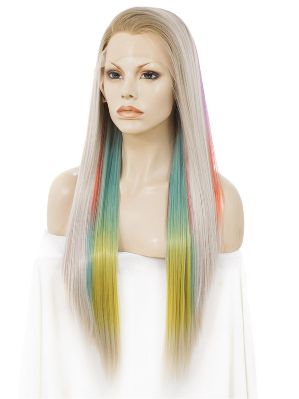 Long Rainbow Color Straight Glueless Synthetic Lace Front Wigs - Imstylewigs