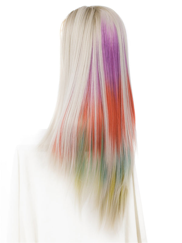Long Rainbow Color Straight Synthetic Lace Front Wigs - Imstylewigs