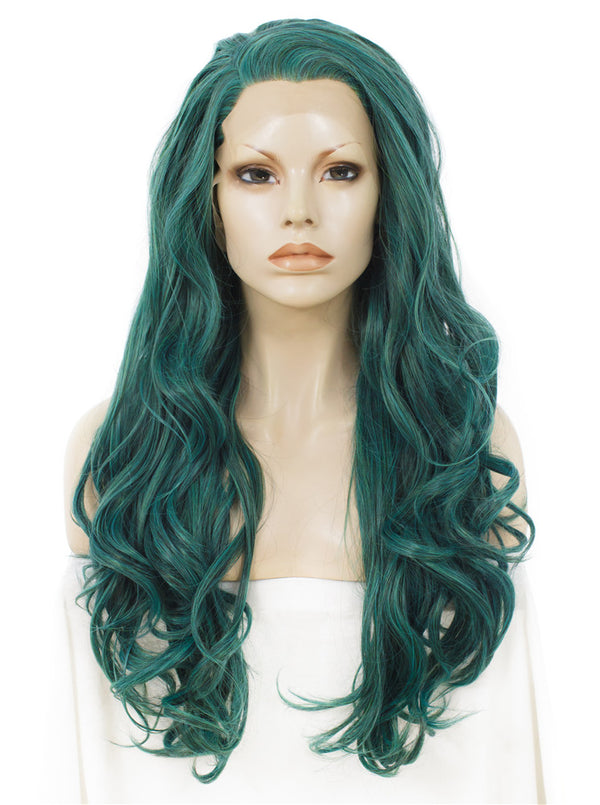 Long Wavy Green Synthetic Glueless Lace Front Wigs - Imstylewigs
