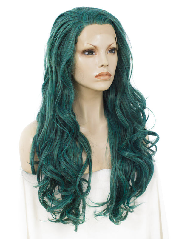 Long Wavy Green Glueless Lace Front Wigs - Imstylewigs