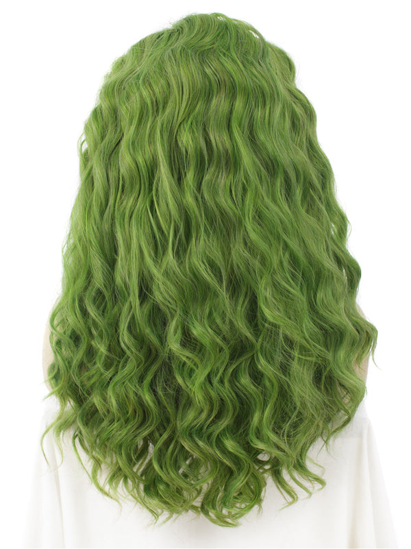 Mustard Green Curly Glueless Synthetic Lace Front Wigs - Imstylewigs