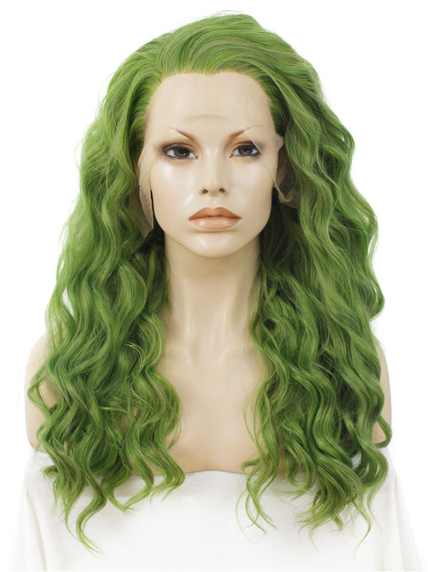 Mustard Green Long Curly Glueless Lace Front Wigs - Imstylewigs