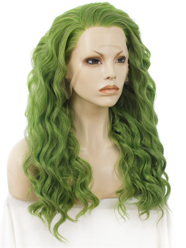 Mustard Green Long Curly Synthetic Lace Front Wigs - Imstylewigs