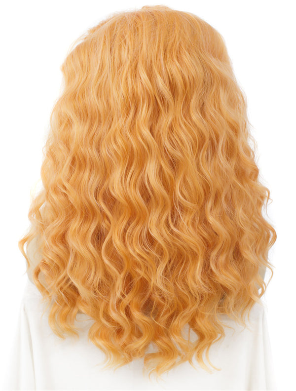 Light Orange Loose Curly Glueless Synthetic Lace Front Wigs - Imstylewigs