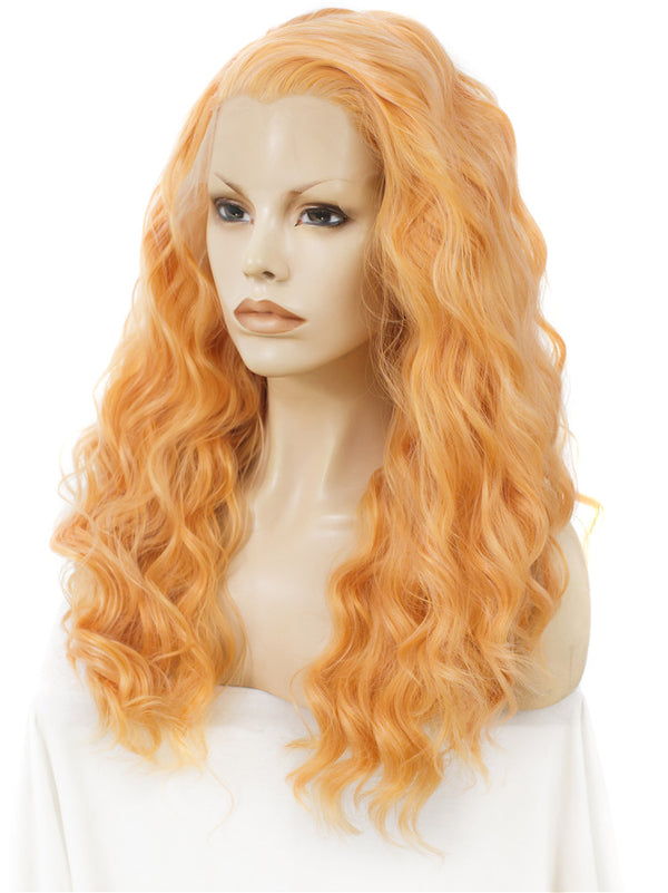 Light Orange Loose Curly Glueless Lace Front Wigs - Imstylewigs