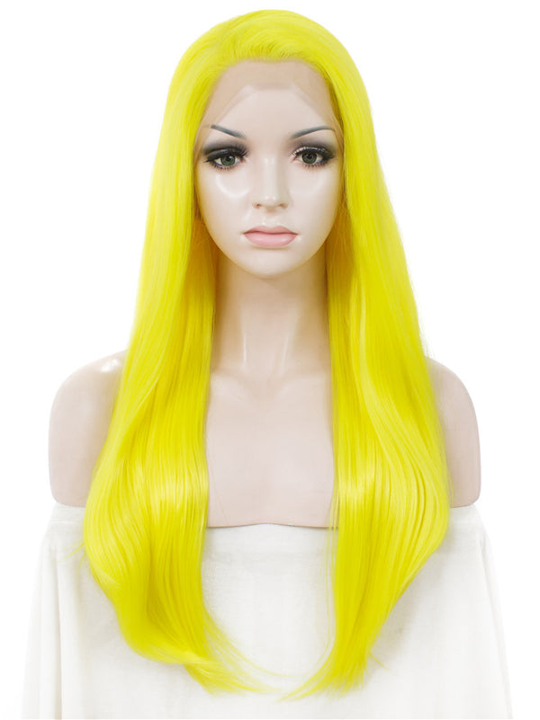 Long Sunshine Yellow Glueless Synthetic Lace Front Wigs - Imstylewigs