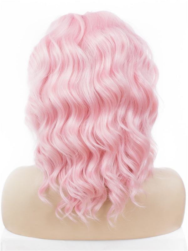 Short Pure Pink Bob Style Glueless Lace Front Wigs - Imstylewigs