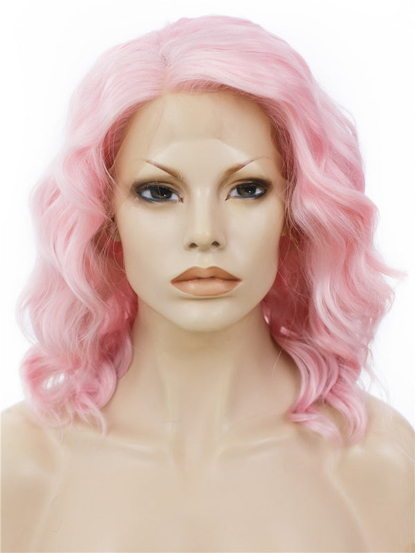 Pure Pink Bob Style Synthetic Lace Front Wigs - Imstylewigs