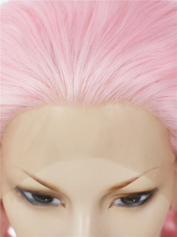 Pure Pink Synthetic Lace Wigs - Imstylewigs