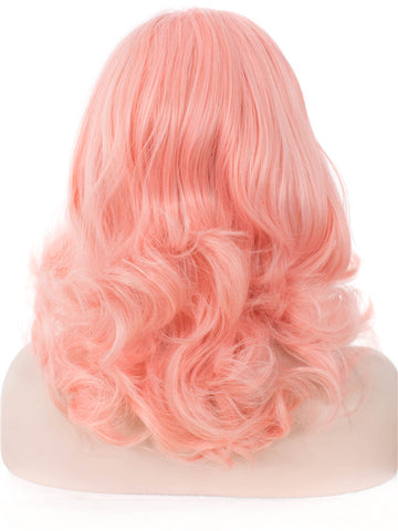 Peach Pink Medium Wavy Glueless Lace Front Wigs - Imstylewigs