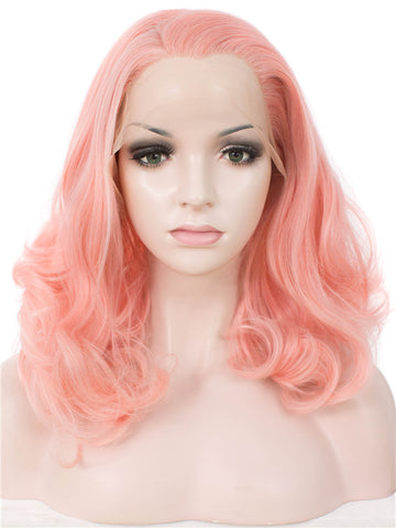 Peach Pink Medium Wavy Synthetic Wigs IM19125